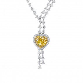 Fancy Brown Yellow Diamond Necklace, 24.32 Carat, Heart shape, GIA Certified, 7326474337