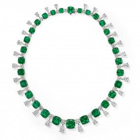 Natural Green Zambia Emerald Necklace, 88.75 Ct. (120.31 Ct. TW), GRS Certified, JCNG05460494, Unheated