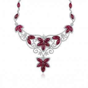 Natural Red Ruby Necklace, 143.85 Ct. (158.68 Ct. TW), CGTC Certified, S-CJL135419, Unheated