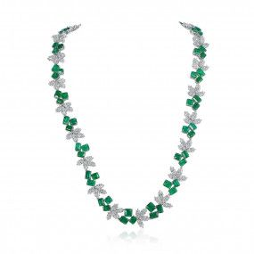 Natural Green Emerald Necklace, 30.61 Ct. (53.52 Ct. TW)