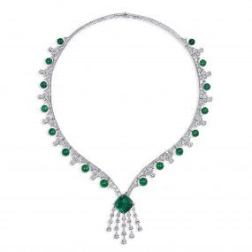 Natural Green Colombia Emerald Necklace, 19.67 Ct. (39.64 Ct. TW), GRS Certified, GRS2021-018147