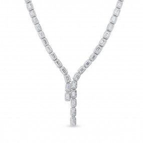 White Diamond Necklace, 11.61 Ct. (17.12 Ct. TW), Baguette shape