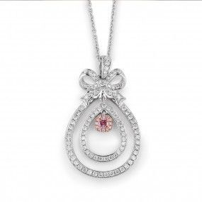 Fancy Pink Diamond Necklace, 0.12 Ct. (0.80 Ct. TW), Mix shape, EG_Lab Certified, J5826064031