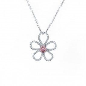 Fancy Brown Pink Diamond Necklace, 0.07 Ct. (0.52 Ct. TW), EG_Lab Certified, J5926219438