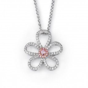 Fancy Brown Pink Diamond Necklace, 0.07 Ct. (0.52 Ct. TW), Oval shape, EG_Lab Certified, J5826066437