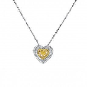 Fancy Light Yellow Diamond Necklace, 2.08 Ct. (3.00 Ct. TW), Heart shape, GIA Certified, 2185805314