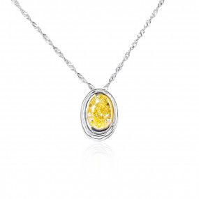 Fancy Light Yellow Diamond Necklace, 1.01 Carat, Oval shape, GIA Certified, 5326251498