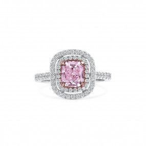 Light Pink Diamond Ring, 1.20 Ct. (1.93 Ct. TW), Cushion shape, GIA Certified, 6187565152