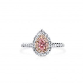 Fancy Light Brownish Pink Diamond Ring, 0.31 Ct. (0.75 Ct. TW), Pear shape, GIA Certified, 2181845283