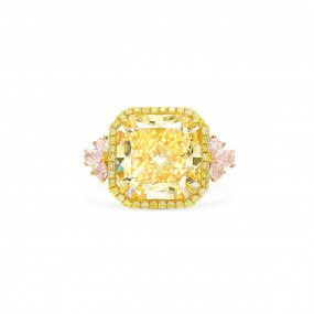 Fancy Light Yellow Diamond Ring, 12.07 Ct. (14.14 Ct. TW), Radiant shape, GIA Certified, 2155645822