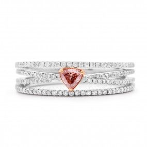 Fancy Pink Diamond Ring, 0.15 Ct. (0.46 Ct. TW), Heart shape