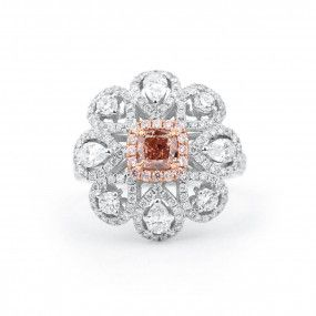 Fancy Orangy Pink Diamond Ring, 0.66 Ct. (2.31 Ct. TW), Radiant shape, GIA Certified, 1162871776