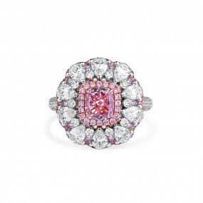 Fancy Purple Pink Diamond Ring, 1.27 Ct. (4.22 Ct. TW), Cushion shape, GIA Certified, 1228167266