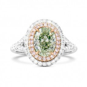 Fancy Light Yellowish Green Diamond Ring, 1.02 Ct. (1.50 Ct. TW), Oval shape, GIA Certified, 5146675620