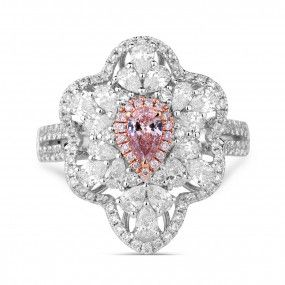 Light Pink Diamond Ring, 0.16 Ct. (1.51 Ct. TW), Pear shape, GIA Certified, 5181017403