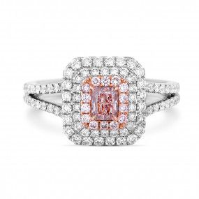 Fancy Brownish Pink Diamond Ring, 0.36 Ct. (1.09 Ct. TW), Radiant shape, GIA Certified, 2175694334