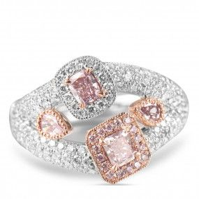 Light Pink Diamond Ring, 0.39 Ct. (1.27 Ct. TW), Cushion shape, GIA Certified, JCRF05330500