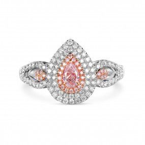 Faint Pink Diamond Ring, 0.24 Ct. (0.75 Ct. TW), Pear shape, GIA Certified, 6183475397