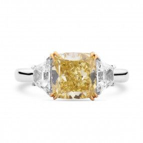 Fancy Vivid Yellow Diamond Ring, 2.60 Ct. (3.37 Ct. TW), Cushion shape, GIA Certified, 5161430482