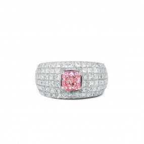 Fancy Brownish Pink Diamond Ring, 1.05 Ct. (4.02 Ct. TW), Cushion shape, GIA Certified, 2155974574