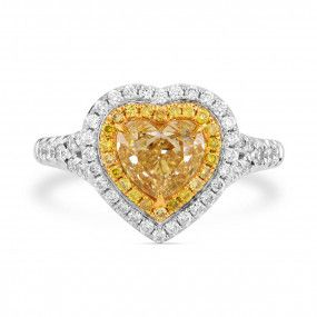 Fancy Yellow Diamond Ring, 1.14 Ct. (1.64 Ct. TW), Heart shape, EG_Lab Certified, J6026102724