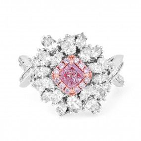 Very Light Pink Diamond Ring, 0.28 Ct. (1.95 Ct. TW), Radiant shape, GIA Certified, 5191259231