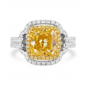 Fancy Light Yellow Diamond Ring, 3.41 Ct. (4.34 Ct. TW), Radiant shape, GIA Certified, 2195176959