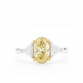 Fancy Yellow Diamond Ring, 1.26 Ct. (1.70 Ct. TW), Oval shape, GIA Certified, 6245017997