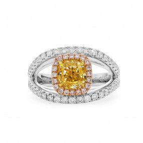 Fancy Vivid Yellow Diamond Ring, 1.45 Ct. (2.46 Ct. TW), Radiant shape, GIA Certified, 14193496