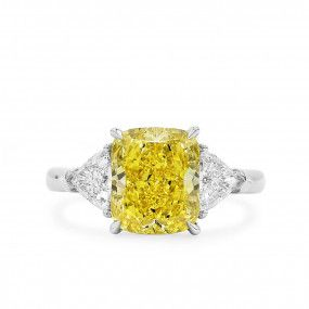 Fancy Vivid Yellow Diamond Ring, 3.45 Ct. (4.23 Ct. TW), Radiant shape, GIA Certified, 5201062340