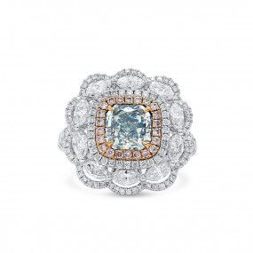Fancy Light Bluish Green Diamond Ring, 1.50 Ct. (3.12 Ct. TW), Radiant shape, GIA Certified, 7306316509
