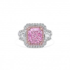 Fancy Light Purplish Pink Diamond Ring, 3.18 Ct. (4.42 Ct. TW), Radiant shape, GIA Certified, 2185743330