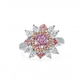 Fancy Brownish Pink Diamond Ring, 1.32 Ct. (2.96 Ct. TW), Cushion shape, GIA Certified, 1186184968