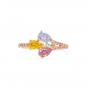 Blue Pink & Yellow Diamond Ring, 0.81 Ct. (0.96 Ct. TW), Pear shape, GIA Certified