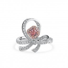 Fancy Purple Pink Diamond Ring, 0.32 Ct. (0.90 Ct. TW), Radiant shape, GIA Certified, 2266130298