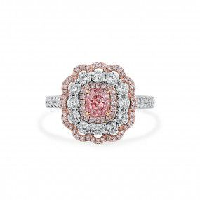 Faint Pink Diamond Ring, 0.63 Ct. (1.65 Ct. TW), Cushion shape, GIA Certified, 2203136307