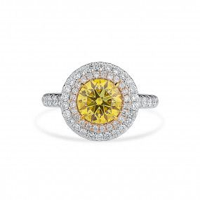 Fancy Deep Yellow Diamond Ring, 1.72 Ct. (2.42 Ct. TW), Round shape, GIA Certified, 2195229254