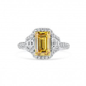 Fancy Deep Brownish Yellow Diamond Ring, 2.10 Ct. (3.28 Ct. TW), Emerald shape, GIA Certified, 1182504984