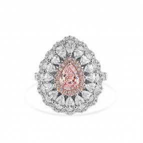 Light Pink Diamond Ring, 0.88 Ct. (3.16 Ct. TW), Pear shape, GIA Certified, 2205489643
