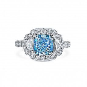 Fancy Intense Green Green-Blue Diamond Ring, 1.84 Ct. (2.84 Ct. TW), Cushion shape, GIA Certified, 5191959743