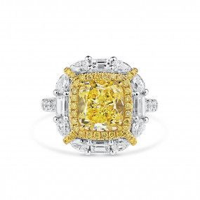 Fancy Intense Yellow Diamond Ring, 3.21 Ct. (4.87 Ct. TW), Cushion shape, GIA Certified, 1196359839