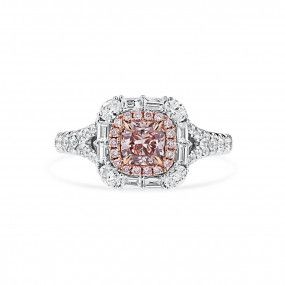 Very Light Pink Diamond Ring, 0.54 Ct. (1.28 Ct. TW), Cushion shape, GIA Certified, 1279941572