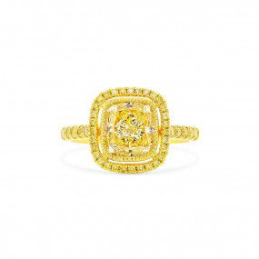 Fancy Light Brownish Yellow Diamond Ring, 2.60 Ct. (2.99 Ct. TW), Radiant shape, GIA Certified, 2171467026
