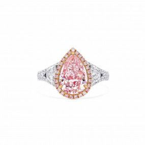 Very Light Pink Diamond Ring, 2.52 Ct. (3.44 Ct. TW), Pear shape, GIA Certified, 6197883836