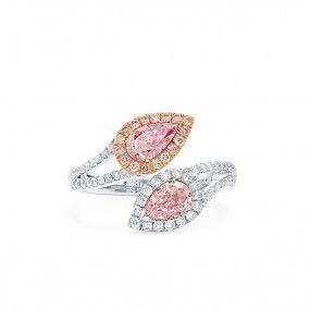 Very Light Pink Diamond Ring, 1.01 Ct. (1.43 Ct. TW), Pear shape, GIA Certified, JCRF05489090