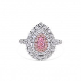 Very Light Pink Diamond Ring, 0.31 Ct. (1.95 Ct. TW), Pear shape, GIA Certified, 5346124842