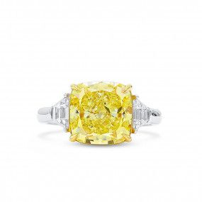 Fancy Intense Yellow Diamond Ring, 5.23 Ct. (5.89 Ct. TW), Cushion shape, GIA Certified, 2205825763