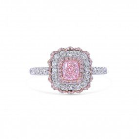 Light Pink Diamond Ring, 0.57 Ct. (1.21 Ct. TW), Cushion shape, GIA Certified, 6345093233