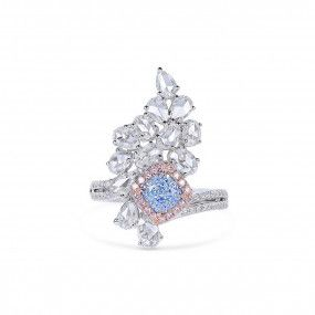 Fancy Light Greenish Blue Diamond Ring, 1.00 Ct. (2.65 Ct. TW), Cushion shape, GIA Certified, 6341029270