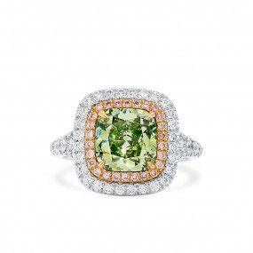 Fancy Grayish Greenish Yellow Diamond Ring, 3.03 Ct. (3.54 Ct. TW), Cushion shape, GIA Certified, 2181264756